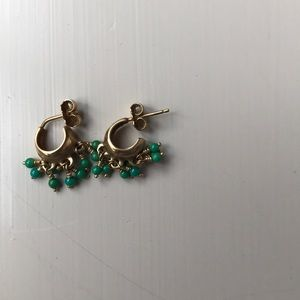 Jewelry - Gold and turquoise hoop earrings
